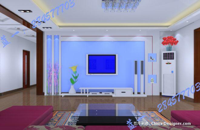 蓝色欧式壁纸影视墙