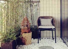 中式田园风格的阳台花园装修效果图