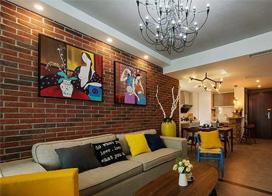 大胆的运用色彩,混搭风格两房一厅装修效果图