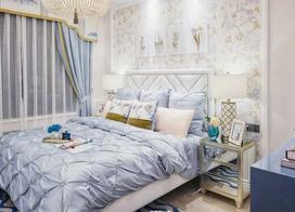 浅蓝色混搭设计,90平米两房一厅装修效果图