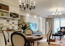现代美式温馨装饰,116平米三室两厅装修效果图