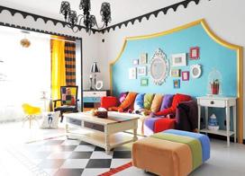 清爽顺畅多姿多彩,10款糖果色客厅装修效果图