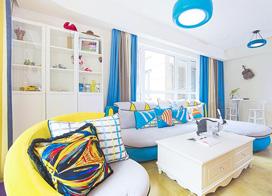 地中海风格,70平米超小户型两房一厅装修效果图