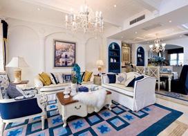 地中海风格典范,135平米三室两厅装修效果图