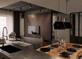 混搭的工业风单身公寓,80平米一居室小户型装修图