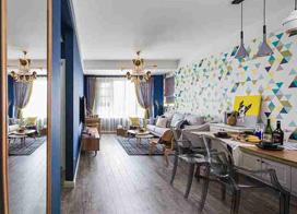 简洁实用的家具和温和的色彩搭配,85平米宜家风格装修效果图