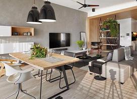 日式混搭风格,120平米三室一厅装修效果图