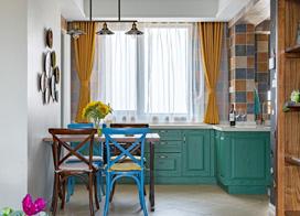 家居空间不能没有色彩,110平米色彩混搭三室一厅装修效果图