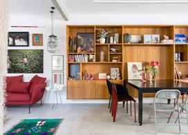 用色彩和绿植装点出的混搭小家,70平米两室一厅装修效果图