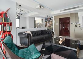 混搭个性空间,120平米三室两厅装修效果图