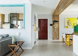 色彩的加入让混搭风格更加俏皮,114平米两房两厅装修效果图