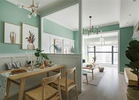 薄荷绿充满生机的颜色,90平米三室一厅装修效果图