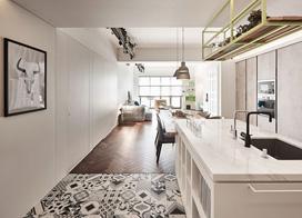小夫妻打造灰白色系质感居室,120平米三室两厅装修效果图