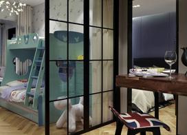 现代北欧风儿童房,120平米两房一厅装修效果图