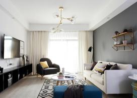 小白领最爱的北欧风,90平米两房两厅装修效果图