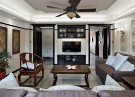 中式和美式混搭,120平米两房两厅装修效果图