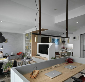 110平米不规则一室一厅装修效果图