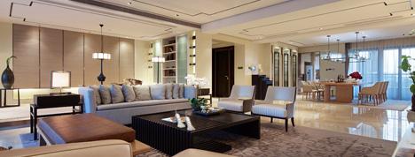 气派的新中式,135平米三室两厅装修效果图