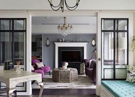 色彩划分空间,150平米三室一厅新古典装修效果图