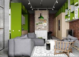 年轻个性工业风装修,98平米两房一厅装修效果图