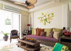 清新淡雅东南亚风格之家,89平米两房两厅装修效果图