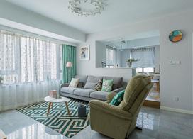 北欧简约风格装修,89平米两房一厅装修效果图