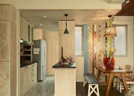 光影帛长,86平米美式田园风格两室一厅装修效果图