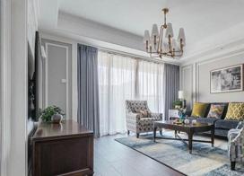大方且雅致简约美式,140平米三室两厅装修效果图