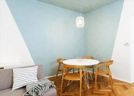 北欧风格90平米简约纯净薄荷绿公寓