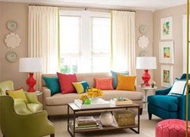 客厅糖果色搭配效果图,让人心里甜甜的