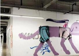 一組辦公室墻繪圖片,用藝術重新定義了Facebook文化