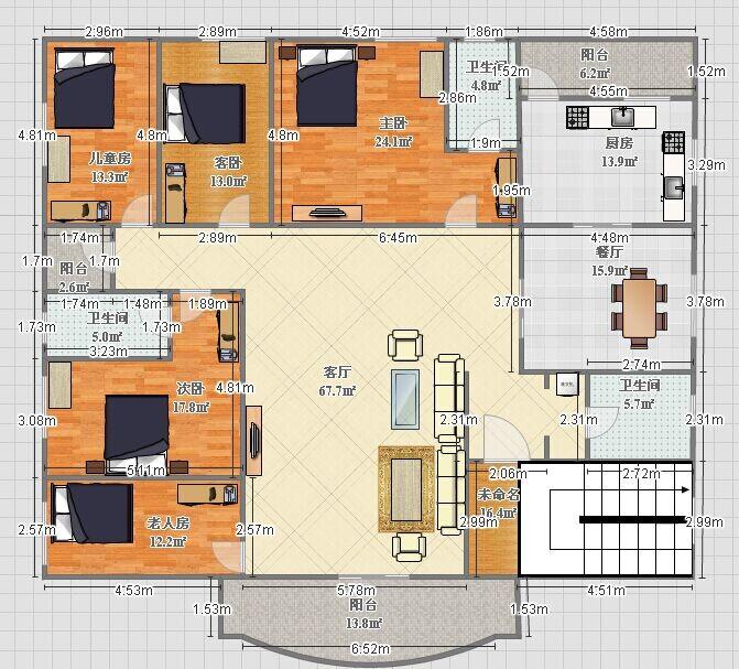 (2)在别墅平面图上计算出中心点,据此划好八宫和二十四山,并且排列