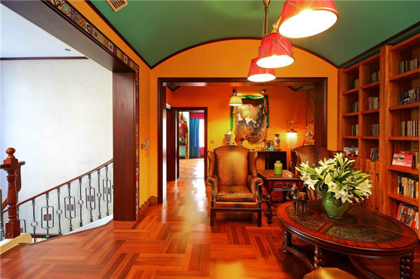 多种色彩混搭风格别墅装修效果图15