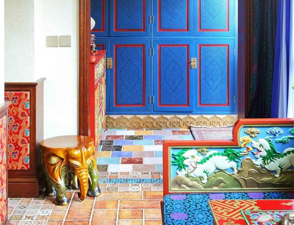 多种色彩混搭风格别墅装修效果图17