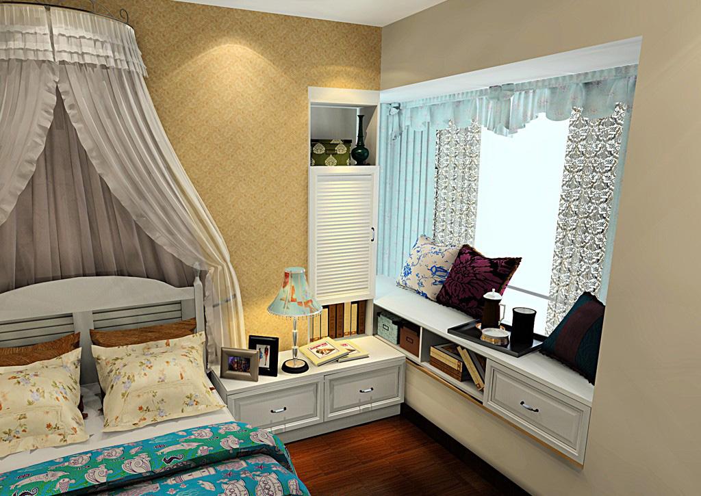 卧室窗帘效果图飘窗设计风格展示:韩式田园 转角飘窗的书柜设计非常到位,给人的感觉是非常不错的,实用性很强大,基础柜的设计很灵活,设计师利用空间非常到位,而这种矮柜的设计还可以作为榻榻米来使用,可以储物,同时也可以当做书桌来利用,坐在这里喝咖啡也不错。