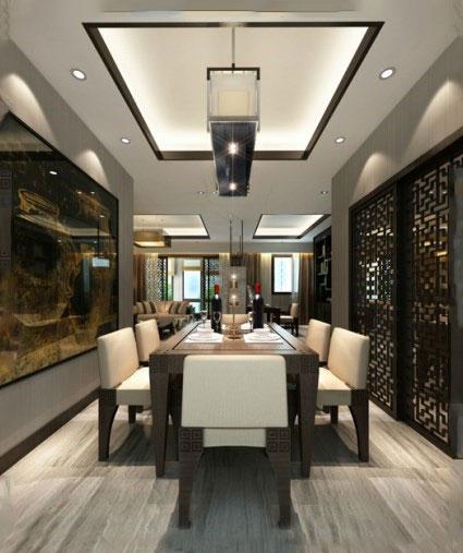 餐厅不仅仅只有背景墙可以做出新花样,吊顶也是一种装饰家庭的重要
