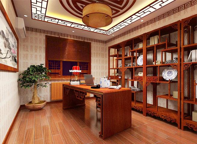 宁静致远 古色古香中式书房设计效果图-中国木业网