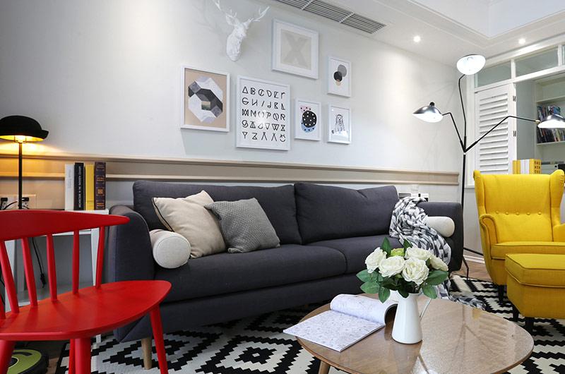 90平北欧风格三室一厅装修效果图