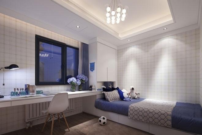 灰白绿之家 现代简约三室两厅两卫装修效果图