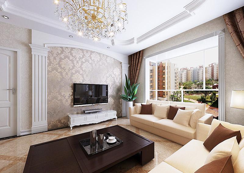 多彩电视墙壁纸 简约风格设计