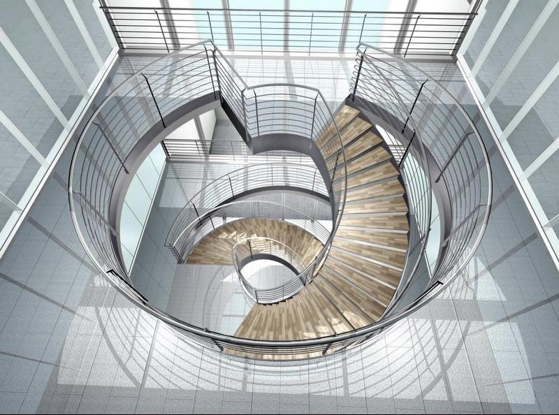 10款简单的旋转楼梯设计效果图10