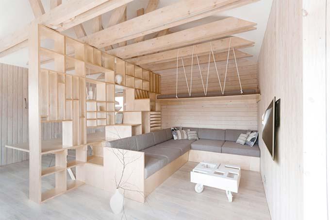 全木质装修风格,单身公寓布置效果图