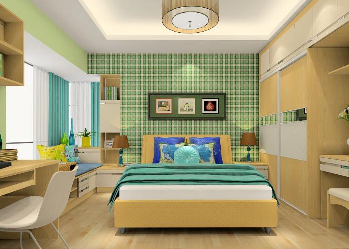 本色卧房家具,外飘窗装修效果图图片