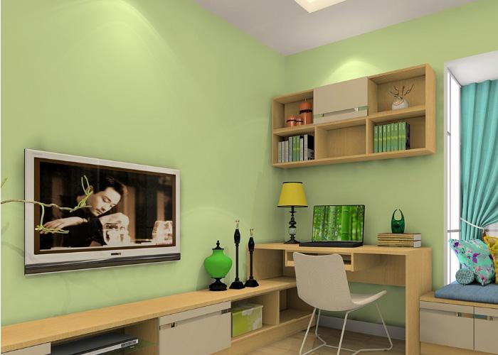 以绿色为主的墙体呈现出来的是非常清新的感觉,这种自然的木色的家具设计让主人的家看上去非常地柔和而美好。靓丽而清新的窗帘色彩的搭配也增加了自然的味道,飘窗的矮柜的造型非常地实用,坐在这里,尽享闲适的生活状态。