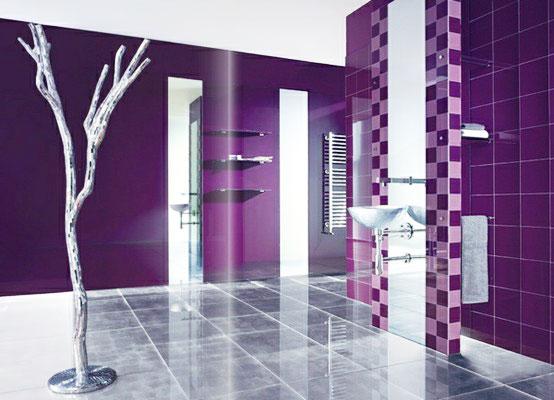 紫色卫生间瓷砖贴图 营造浪漫卫生间