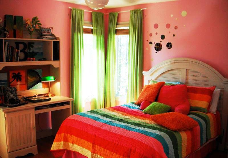 粉红色卧室装修图片-中国木业网