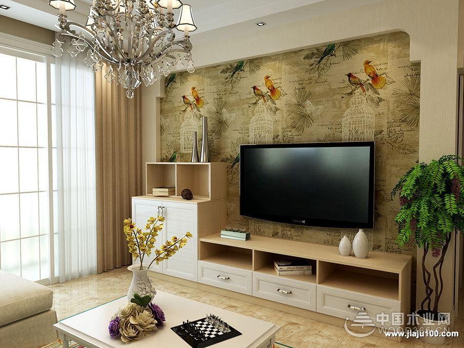五款现代简约电视背景墙图片-中国木业网