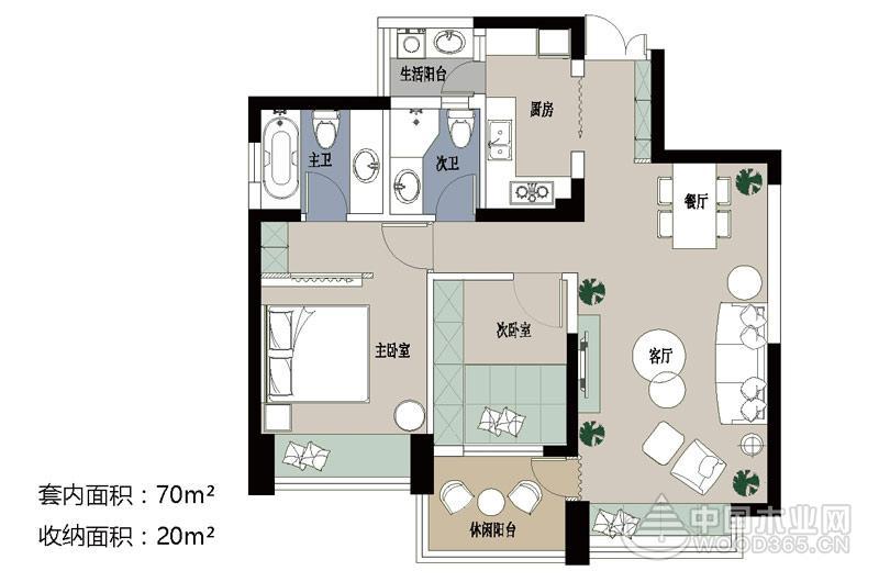 70平米小户型公寓,两房两厅装修效果图片10
