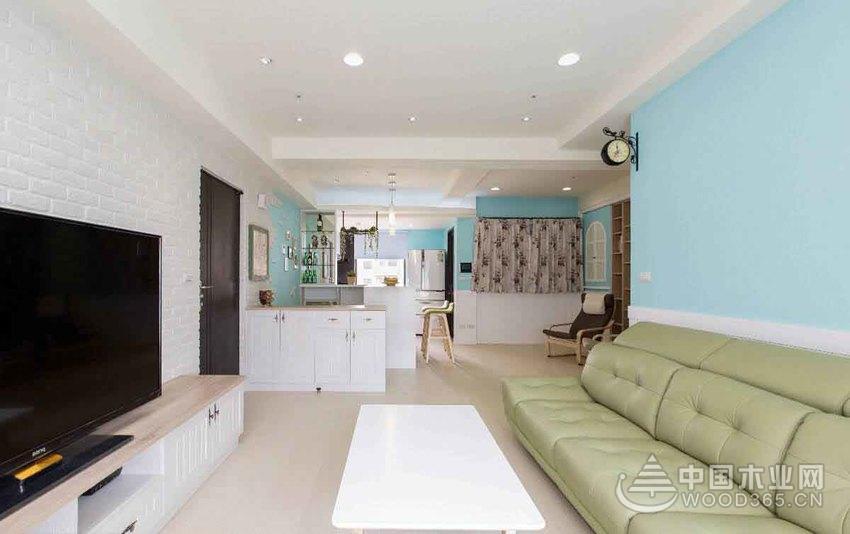 美式乡村风格,100平米三室两厅两卫装修效果图