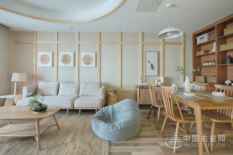 清新舒雅日式装修风格,120平米三室两厅装修效果图